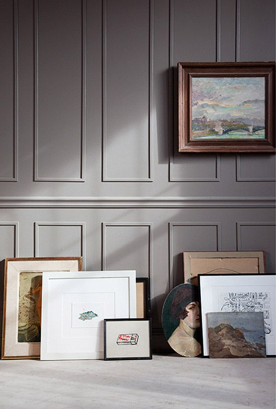 Dark Taupe Walls - for a dining room in Vermont or a library in Boston.  Benjamin Moore Iron Gate #1545 in eggshell
