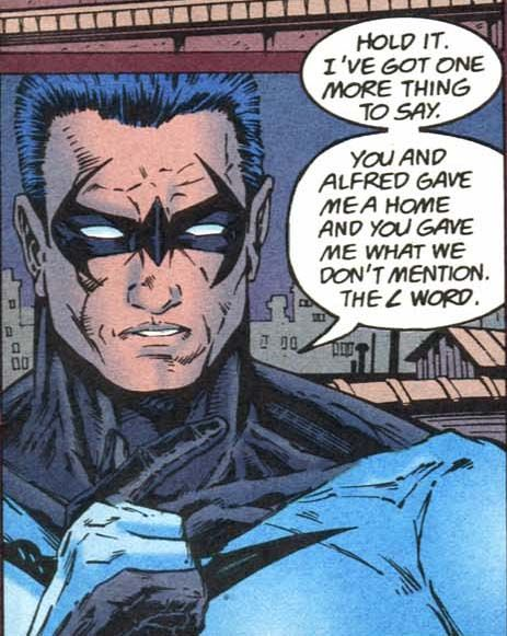 NOT THE L WORD!From Nightwing #4 (Dennis O'Neil, original miniseries; published 1995).