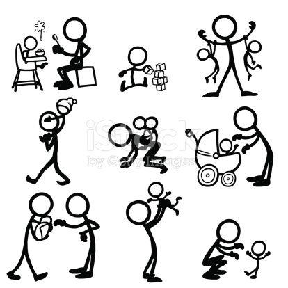 Stick-Figure Babies and parents