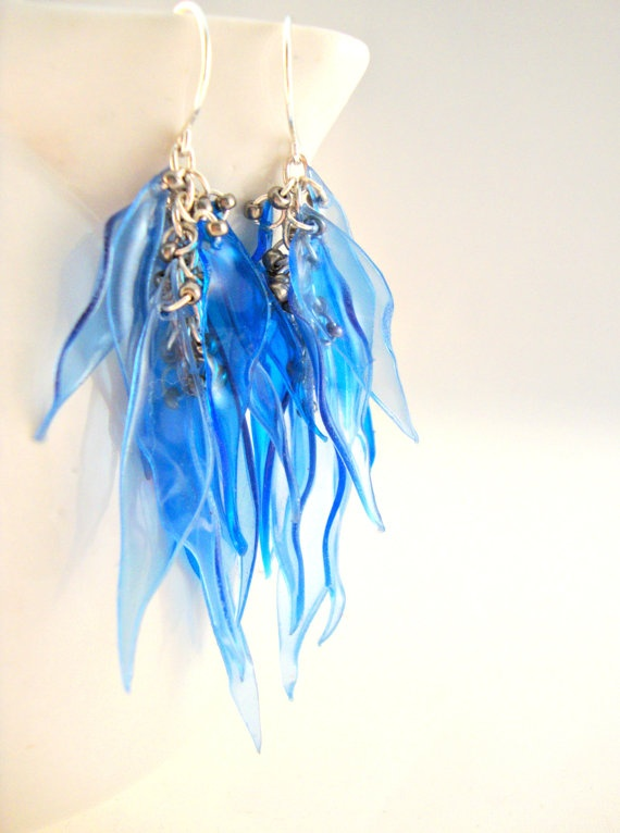 Blue Upcycled Plastic Water Bottle Earrings by funkychicUPCYCLING, $26.00