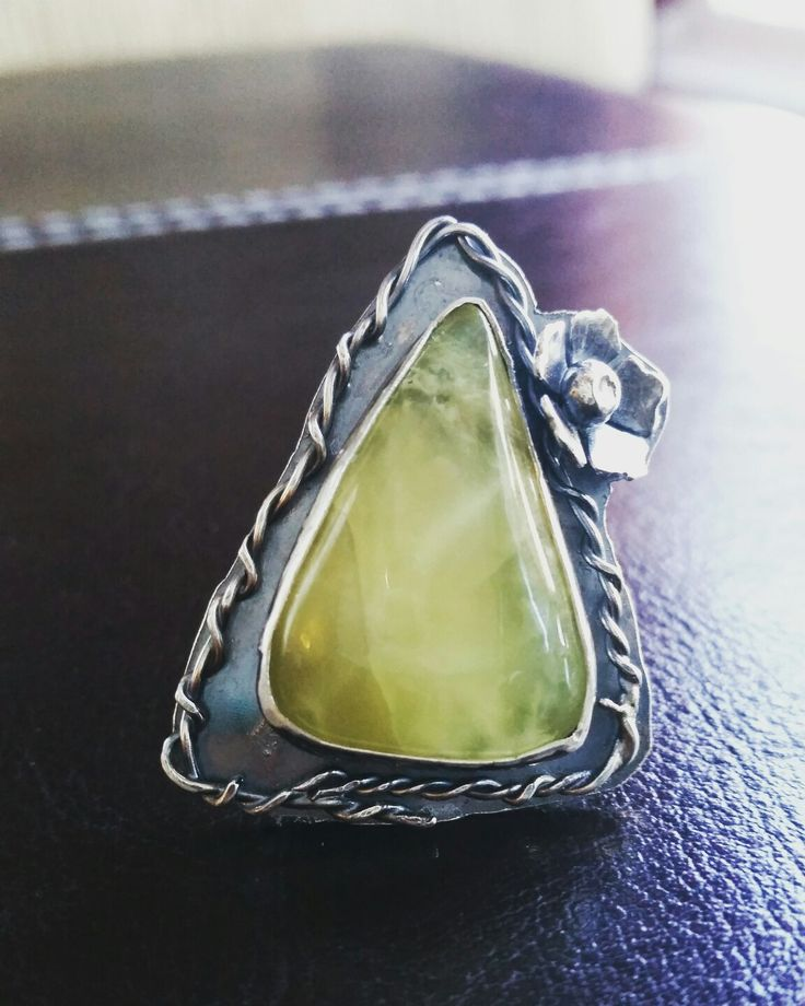 Springtime love Handmade OOAK prehnite sterling silver statement ring with flower and vine embellishments.
