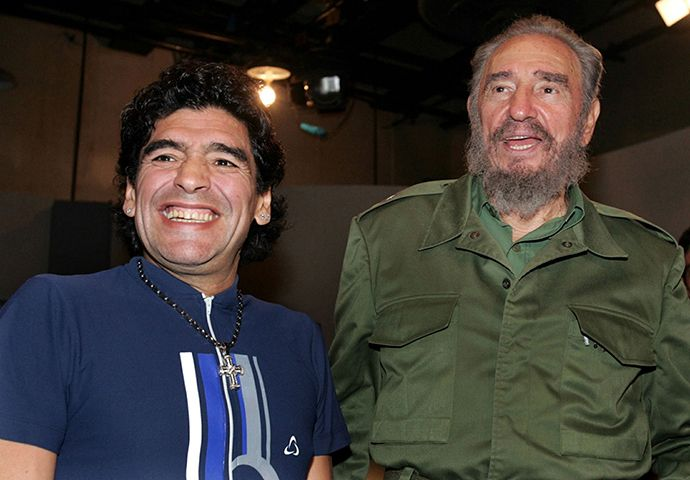 ARCHIVE PHOTO: Former Argentine soccer player Diego Maradona (L) and Cuban President Fidel Castro smile after appearing together on a live television broadcast in Havana, October 27, 2005 (Reuters)