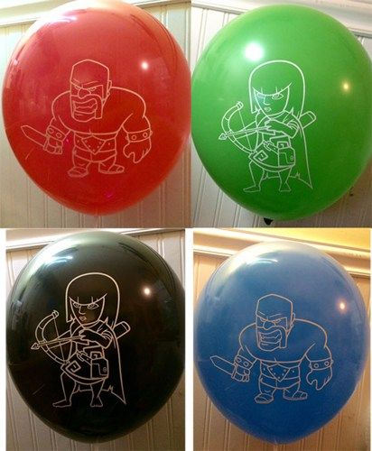 One dozen 12 inch screen printed balloons. You will receive 4 of each color black, blue, green and red. Each balloon has a Barbarian on one side and an Archer on the opposite side. Make your party really stand out with these amazing party balloons.  Each balloon is 100% Latex and is 100% biodegradable.  http://www.party-customs.com/Clash-of-Clans.html