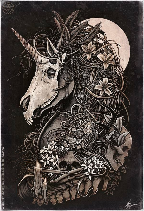 Zentangle-inspired Unicorn skull badassery