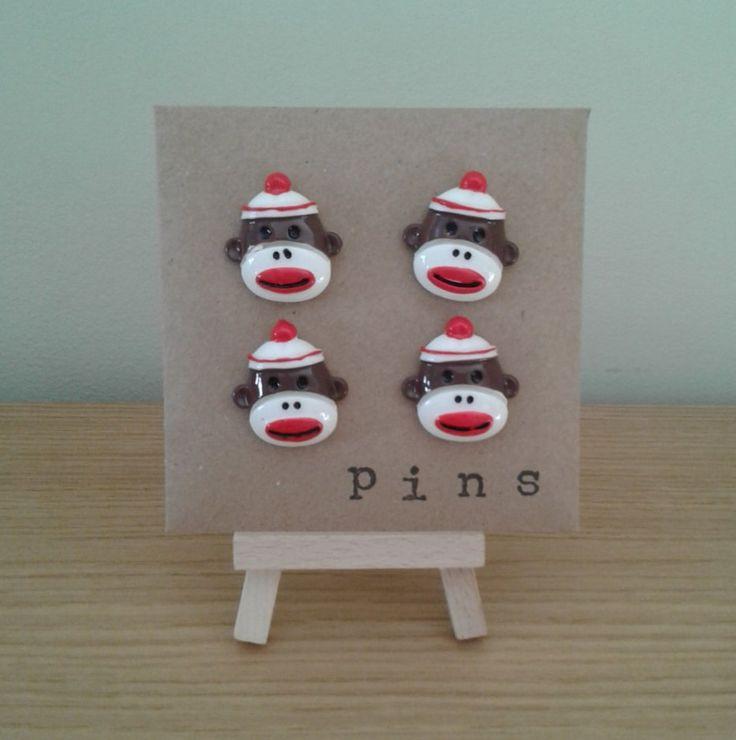 Vintage Sock Monkey decorative push pins/thumb tacks/drawing pins for…