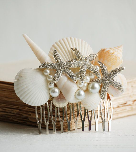 Bridal HAIR COMB Sea Shell Hair Accessory Beach by redtruckdesigns