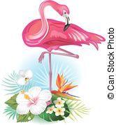 exotique, fleurs, flamant rose,  Arrangement