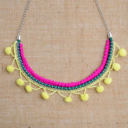 Bright Pink and Yellow Neon Pom-pom Necklace on Etsy, $44.99 AUD