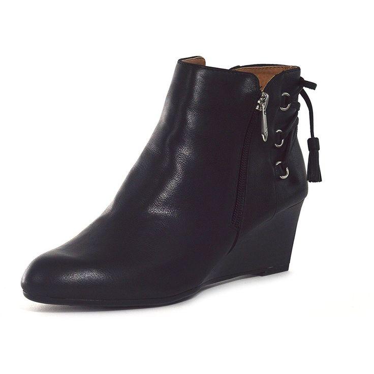 Adrienne Vittadini Moltz Black Wedge Boots (Women)