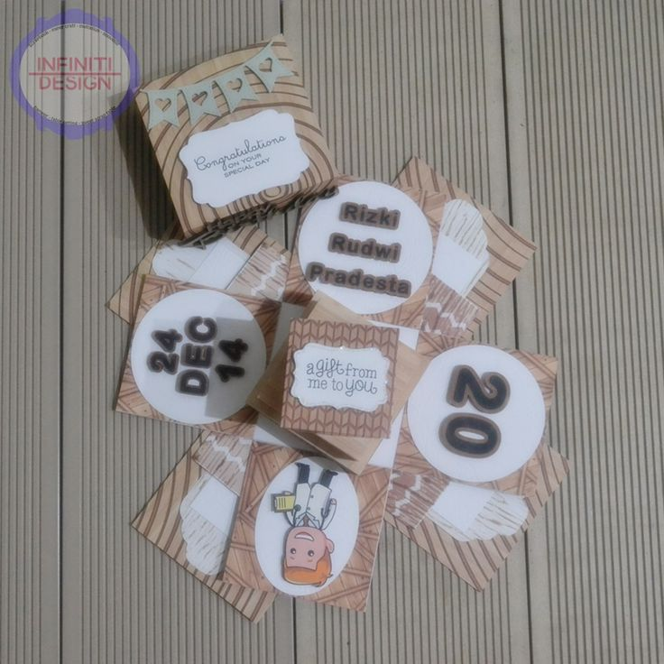 """10x10x10cm birthday exploding box using DCWV """"The Good Wood stacks"""" for miss Dini :)"""
