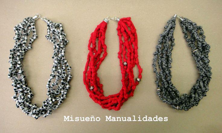3 collares cortos de trapillo con nudos.  www.misuenyo.com / www.misuenyo.es