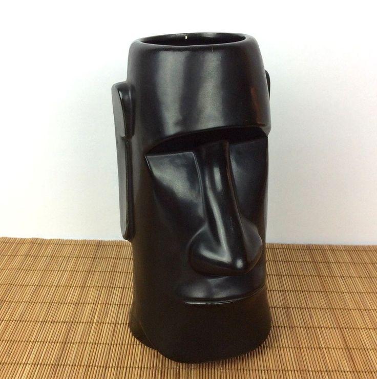 """Vintage Moai Tiki Mug Vase The Tiki's Monterey Park CA 7.25"""" Tall"""