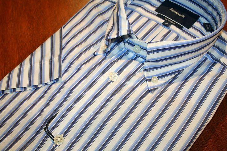 Faconnable Short Sleeve Shirt   Blue and White Stripe   #Mondo #Uomo #Naples #Fashion