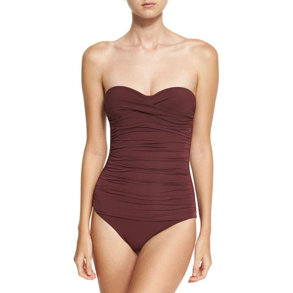 Heidi Klein Body Ruched Control Bandeau One-Piece Swimsuit (971.840 COP) ❤ liked on Polyvore featuring swimwear, one-piece swimsuits, purple, purple one piece swimsuit, bandeau swimsuits, ruched swimsuit, purple one piece bathing suit and purple swimsuit