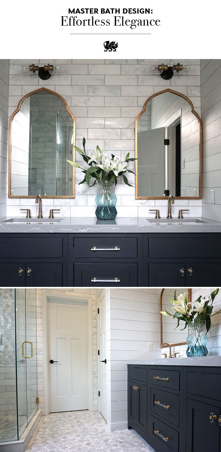 This Elegant Bathroom By Listed Sisters Lex Leblanc Features Arched Brass Vanity Mirrors A Shiplap Wall S Grey Countertops Bathrooms Remodel Bathroom Design