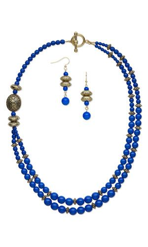 Double-Strand Necklace and Earring Set with Czech Pressed Glass Druk Beads and Antiqued Gold-Finished Copper-Coated Plastic Beads - Fire Mountain Gems and Beads