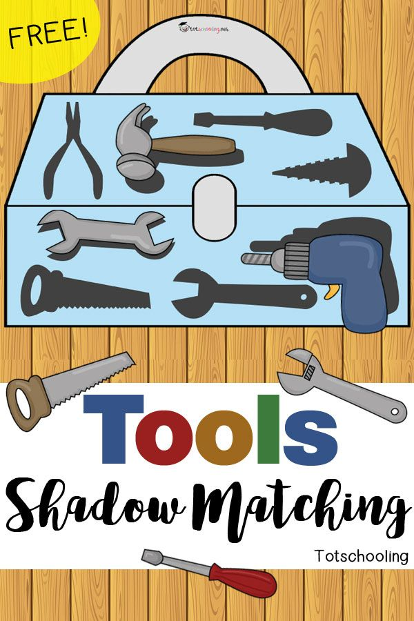 FREE Tools matching activity with a tool box and 8 different construction tools. Great toddler activity for Father's Day or community helpers theme.