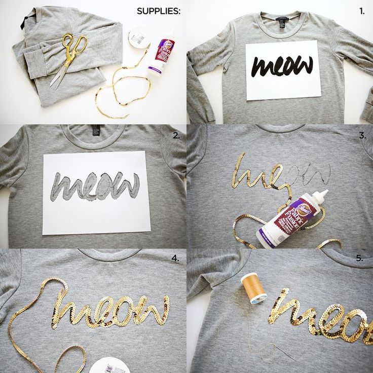 #DIY: Sequin Phrase Sweatshirt SUPPLIES: sweatshirt, sequin trim, needle and thread, fabric glue, marker