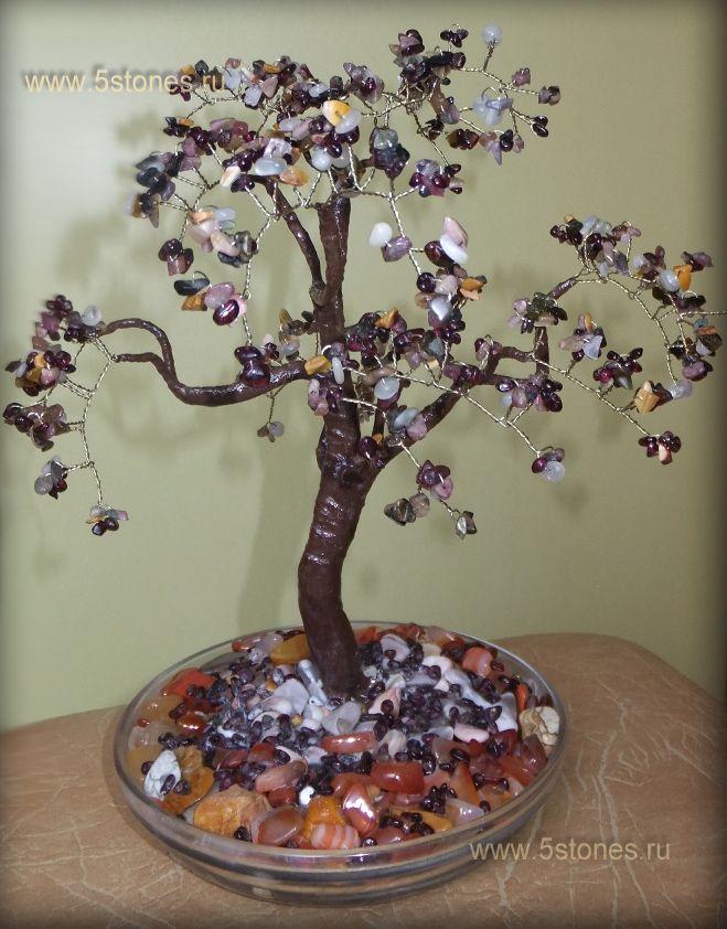 Дерево счастья из турмалинов | Украшения и деревья счастья из ...