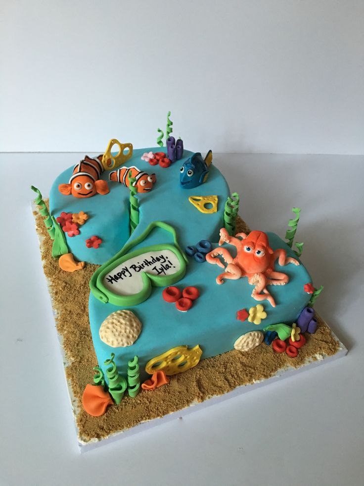"Finding Nemo/ Finding Dory combo cake for a 2-year old birthday party. This birthday girl loves both movies, so we tried to combine both with a number she knew and recognized - her birthday ""2""!"