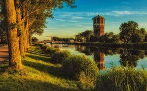 закат, канал, Галандия, водонапорная башня, деревья, пейзаж