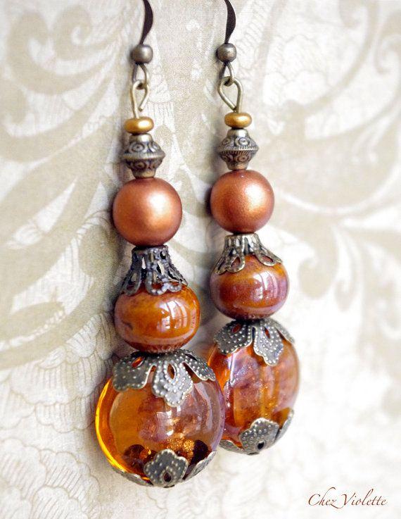 Autumn Chocolate Brown earrings Long earring by chezviolette
