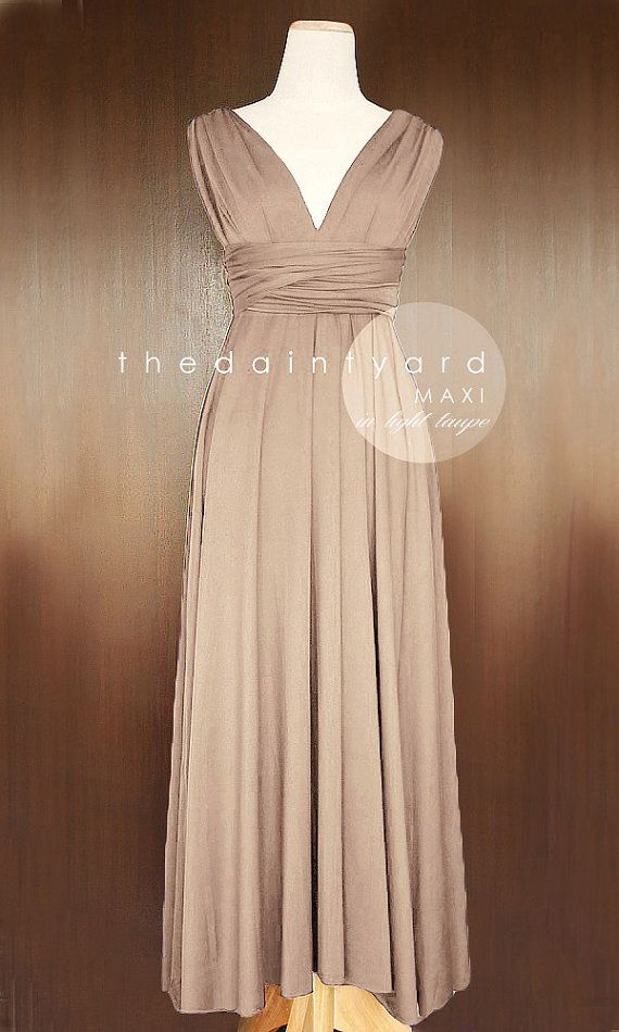 MAXI Light Taupe Bridesmaid Convertible Dress Infinity Multiway Wrap Dress Wedding Dress Neutral Full Length