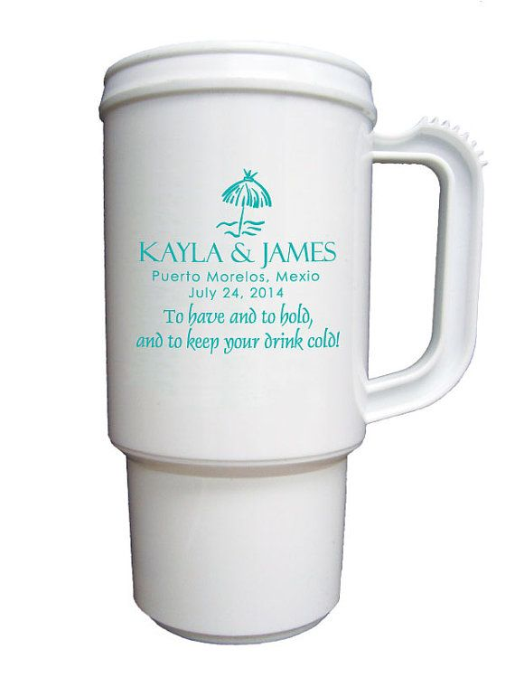 75 Custom Destination Wedding Favor Travel Mugs by Factory21, $189.75
