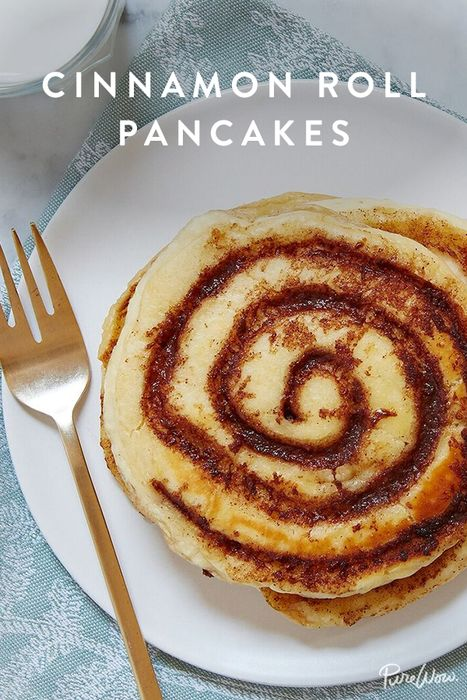 Cinnamon-Roll Pancakes - Why should you have to choose between cinnamon rolls and pancakes for breakfast? The answer is you shouldn't. And the solution is this recipe for cinnamon-roll pancakes (yes, with plenty of icing). www.purewow.com/recipes/Cinnamon-Roll-Pancakes