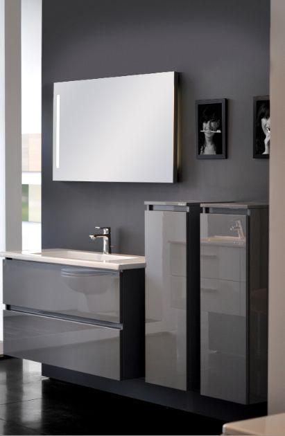 108 - jaws Grijs hoogglans badkamermeubel met enkele wastafeltablet in porselein