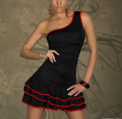 Sexy Mini Dress Bodycon One Shoulder Style Wide Sleeve Black Red