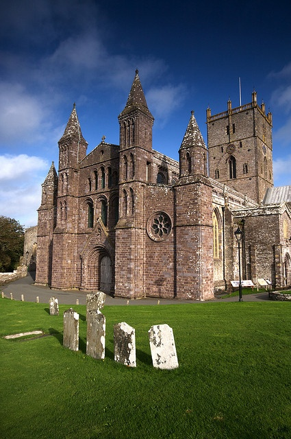 The Cathedral of St Davids in Wales. Purple stone used alot in this part of Wales