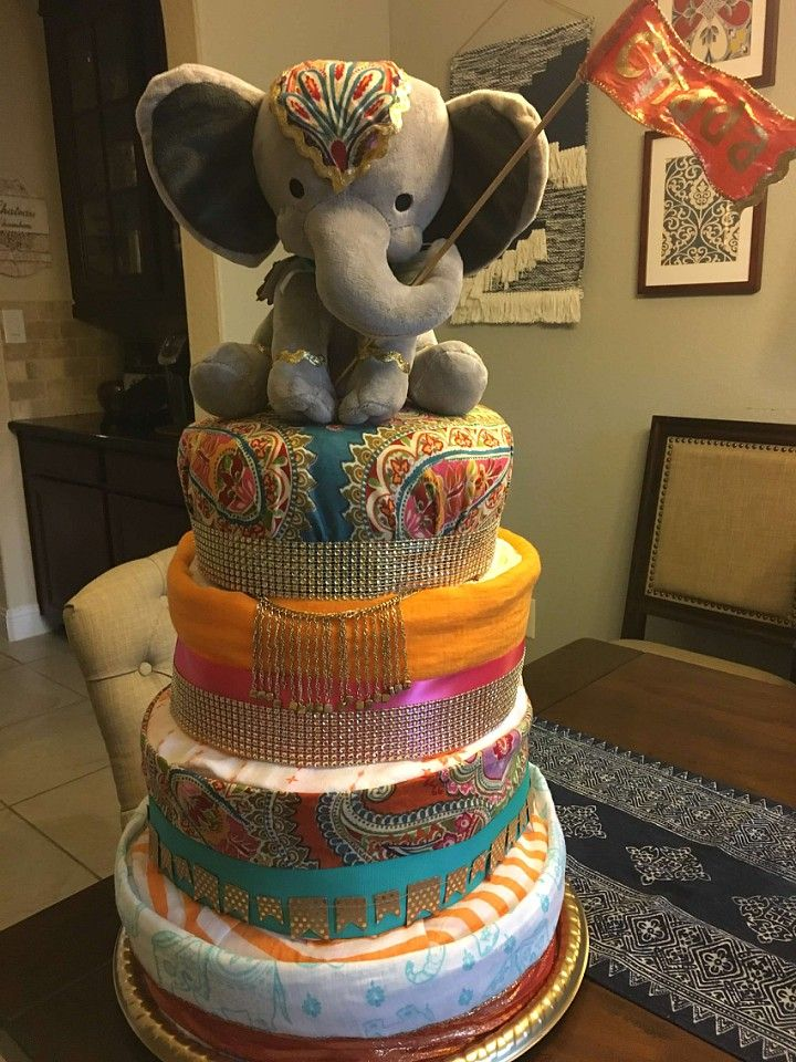 Indian baby shower diaper cake, Moroccan inspired baby shower