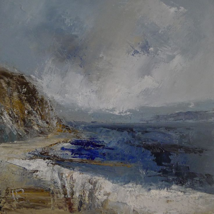 Ailsa Craig across to the mainland 9 x 9 inch oil on board