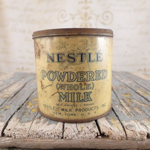 Can can of Nestle , box, container, antiques, atelier brocante, tin, can, nestle