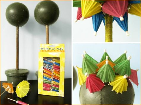 Finally found a link where you get an idea on how to make.  Get Inspired: DIY Parasol Topiaries