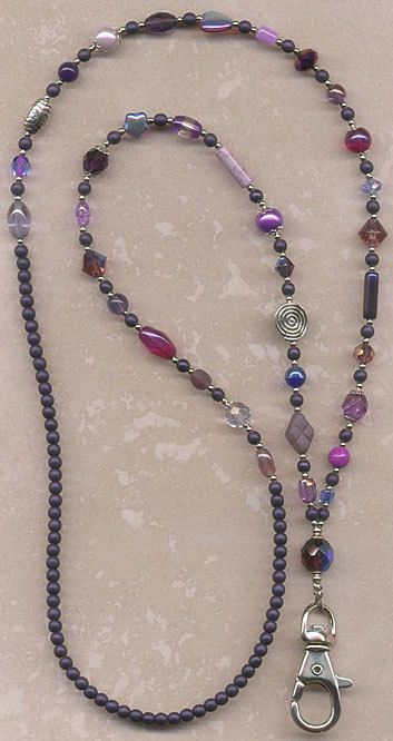 products beaded badge lanyard silver light and violet necklace rectangular plum sectioned id