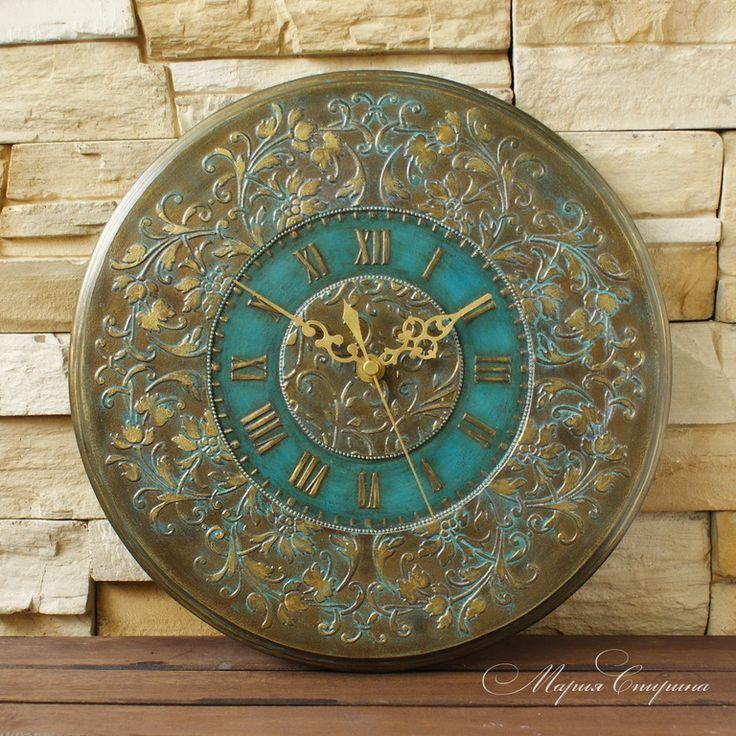 """Купить """"Старинные часы"""" настенные круглые, бирюзовый, бронзовый - часы настенные, часы настенные большие"""