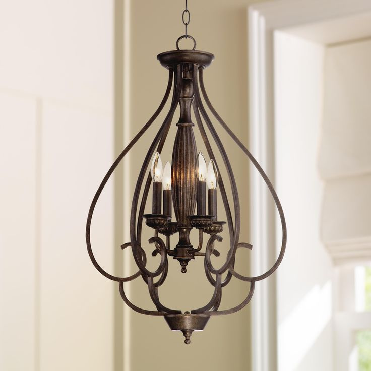 Wide Foyer Chandelier : Dunnell quot wide bronze foyer chandelier decor