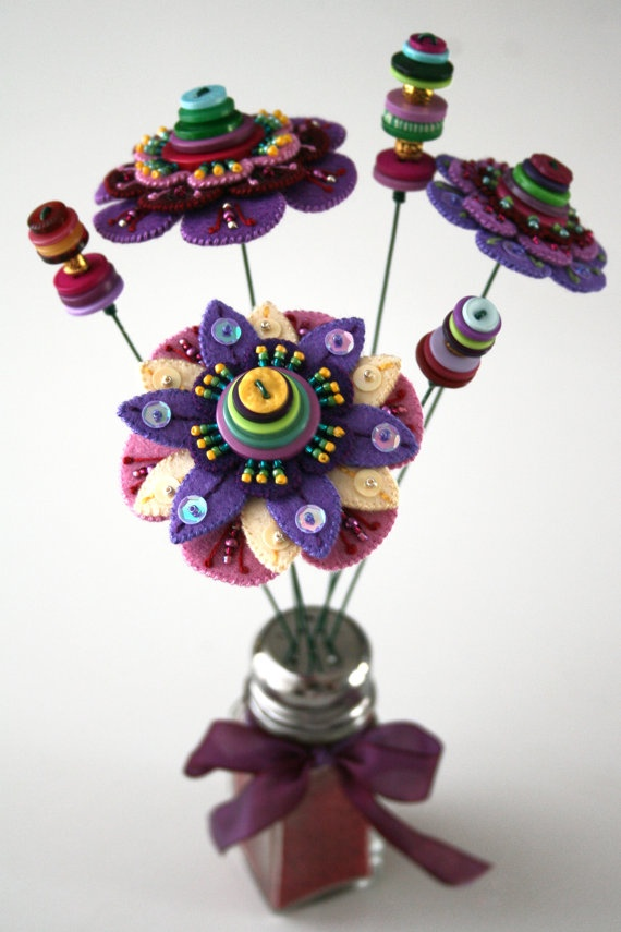 Kerrin Quall  Vase of Felt and Beaded Flowers by ABitOfJustBecause on Etsy, $55.00 - buttons