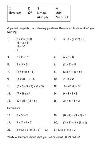 Image result for BODMAS worksheets grade 4 Bodmas Math