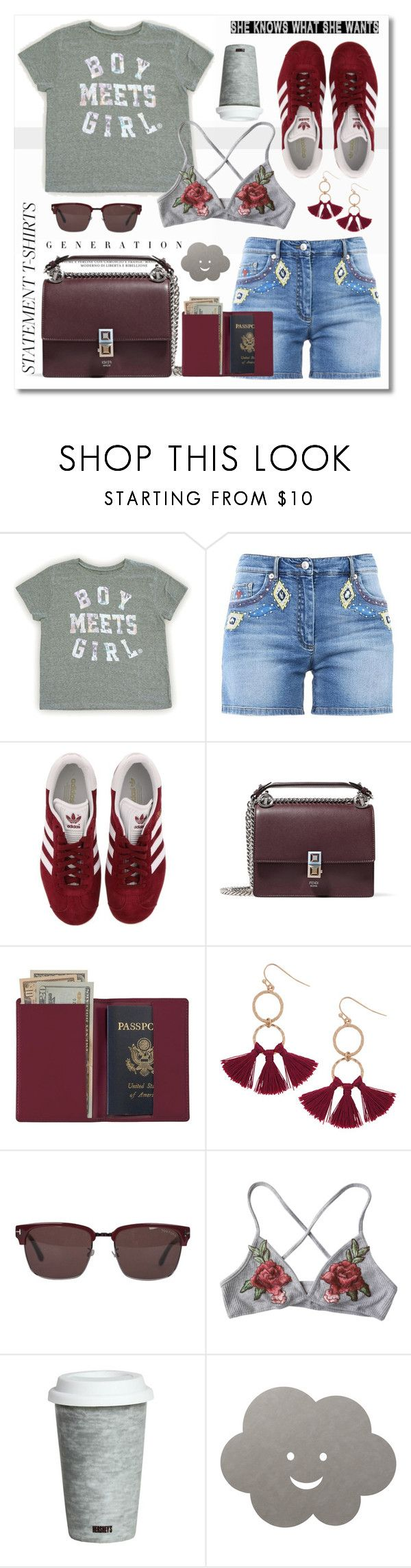 """Say It Loud: Slogan T-Shirts"" by esch103 ❤ liked on Polyvore featuring Moschino, adidas, Fendi, Royce Leather, Humble Chic, Tom Ford, Fitz & Floyd, LIND DNA and slogantshirts"