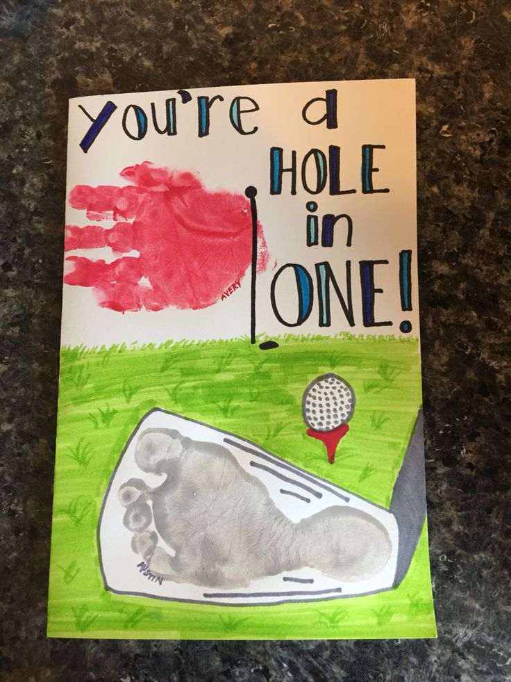 Father's Day card. Hole in one. Golf club footprint, golf flag handprint