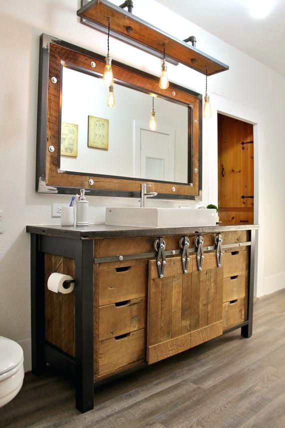 incredible Cabin Vanity Light Part - 11: Rustic Bathroom Vanity Lights Ideas Light Fixtures | Cabin designs in 2018  | Bathroom, Rustic bathrooms, Rustic bathroom vanities