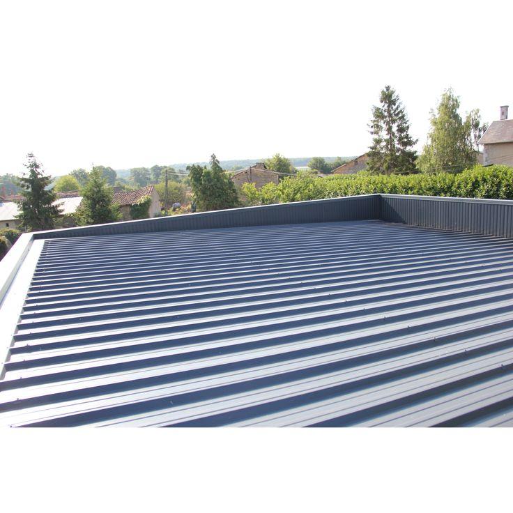 Plaque de toiture nervurée acier galvanisé bleu l.1.05 x L ...