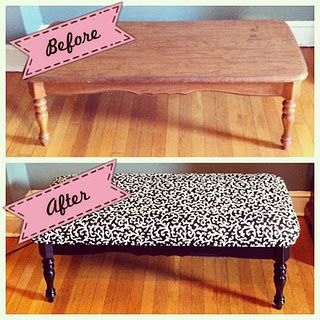 Upcycled coffee table turned into a bench DIY - possibly the only thing that could save our current coffee table from the burn pile!