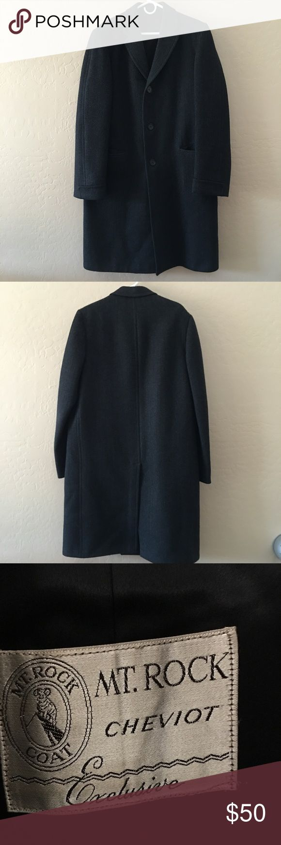 Men's Wool Trench Coat Mt. Rock Cheviot exclusive men's trench coat.  This is a very nice XXL dark grey trench coat.  It is heavy wool and is a herringbone pattern with large buttons.  Measurements upon request. Mt. Cheviot Jackets & Coats Trench Coats