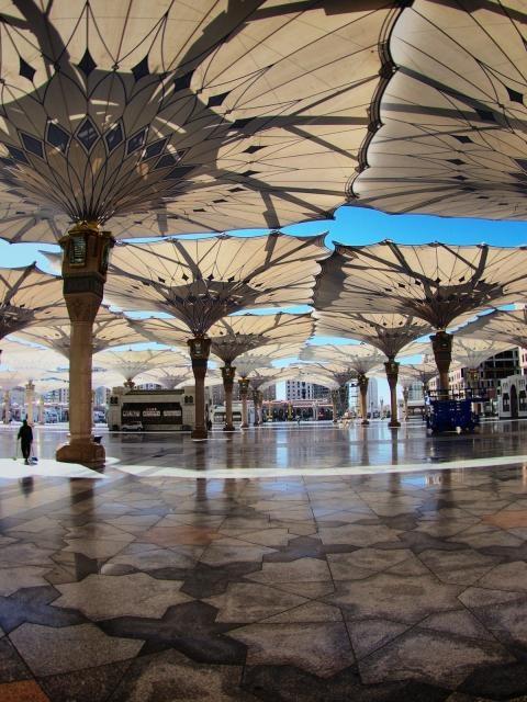 """Square Umbrellas in """"The Prophet Mosque"""" - Madinah ,Saudi Arabia."""