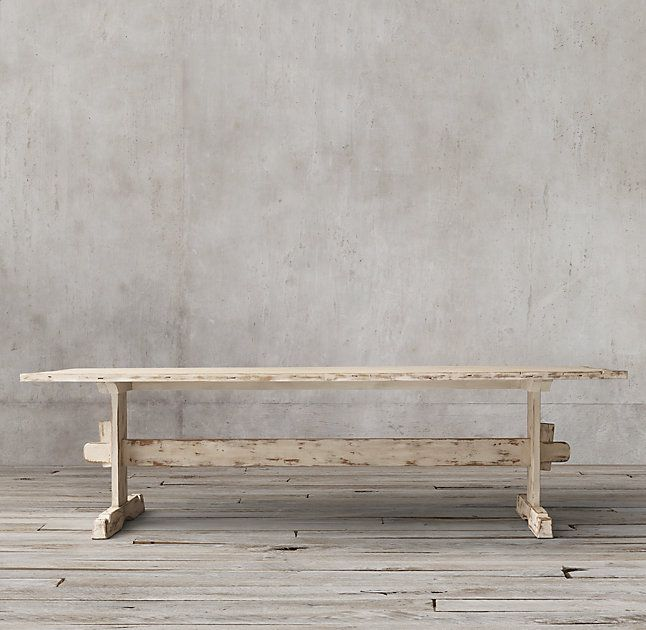 RH's 18th C. Swedish Trestle Rectangular Dining Table:Our planked pine table echoes the simplicity of 18th-century Swedish furniture. Set on massive trestle bases joined with a stretcher and secured with a triangular pressure wedge.