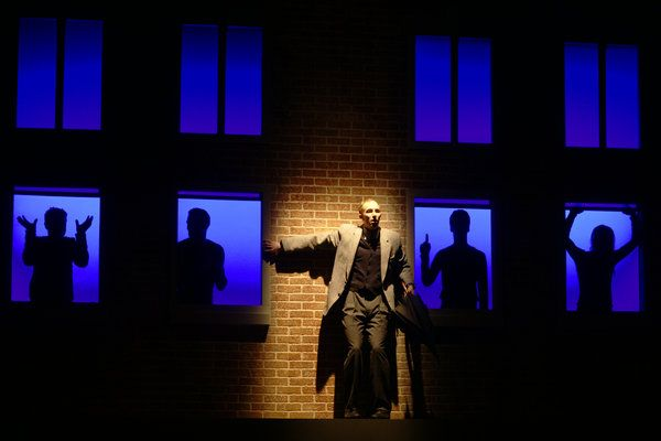Brian Haight as The Man in 7 Stories at Hart House Theatre in Toronto, photo credit Scott Gorman
